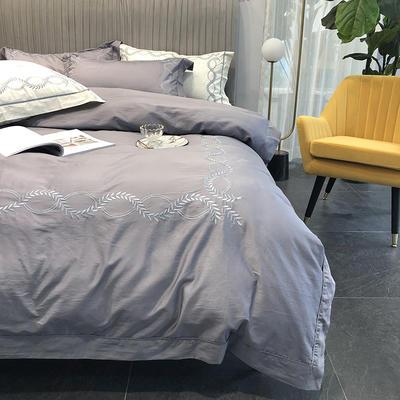 涞乐新品自然系列100支四件套简约刺绣床上用品 标准四件套(200*230) 自然 碳木灰(1)