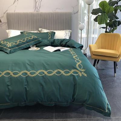 涞乐新品自然系列100支四件套简约刺绣床上用品 标准四件套(200*230) 自然 叶绿(1)