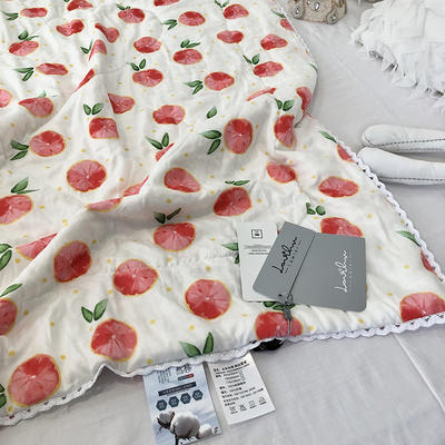 涞乐全棉双层纱儿童夏被纯棉薄被子 120x150cm 橙子