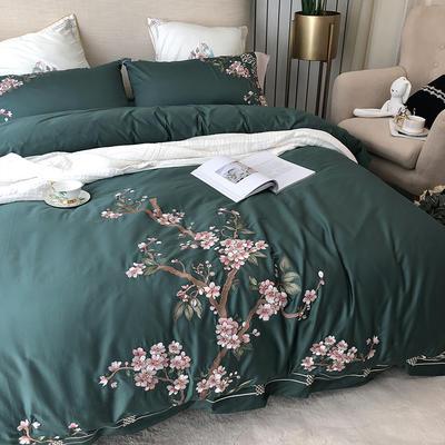 涞乐60S长绒棉四件套全棉刺绣新中式 1.5m(5英尺)床 绿筠