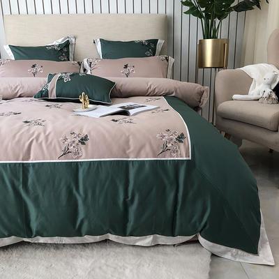 涞乐60S长绒棉四件套全棉刺绣新中式 1.5m(5英尺)床 如懿