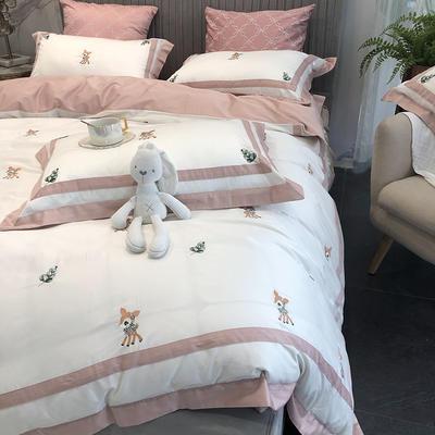 涞乐60S长绒棉四件套全棉刺绣新中式 1.5m(5英尺)床 小鹿斑比粉