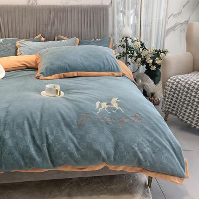 秋冬新款牛奶绒浮雕四件套刺绣床品 1.8m(6英尺)床 艾玛兰