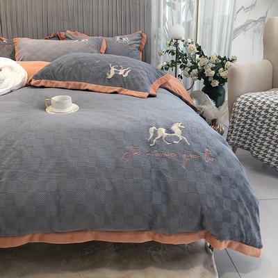 秋冬新款牛奶绒浮雕四件套刺绣床品 1.8m(6英尺)床 艾玛灰