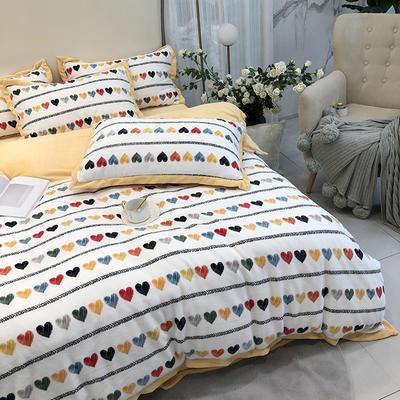 涞乐秋冬新款牛奶绒印花四件套 1.5m(5英尺)床 甜蜜蜜
