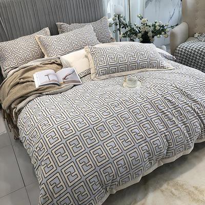 秋冬新款牛奶绒印花四件套 1.8m(6英尺)床 迷宫