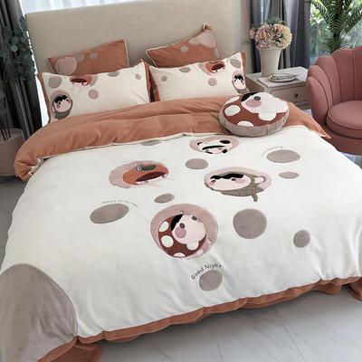 涞乐家居牛奶绒大版刺绣四件套 1.8m(6英尺)床 爱情泡泡
