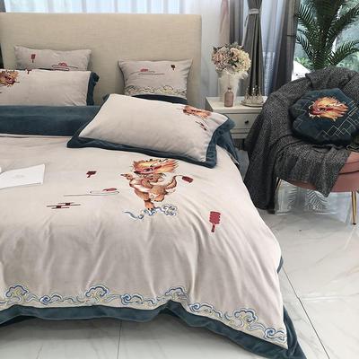 涞乐家居牛奶绒大版刺绣四件套 1.8m(6英尺)床 麒麟竭