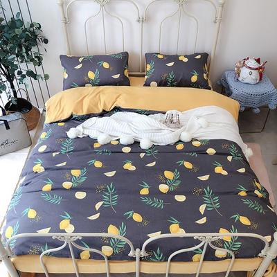 涞乐家居牛奶棉绒四件套 1.8m(6英尺)床 牛奶棉绒柠檬黄