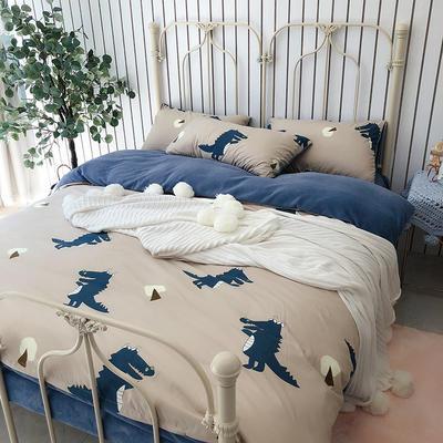 涞乐家居牛奶棉绒四件套 1.8m(6英尺)床 牛奶棉绒小鳄鱼