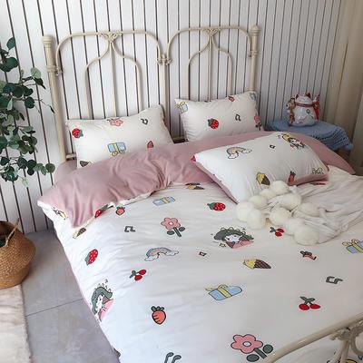 涞乐家居牛奶棉绒四件套 1.8m(6英尺)床 牛奶棉绒小可爱