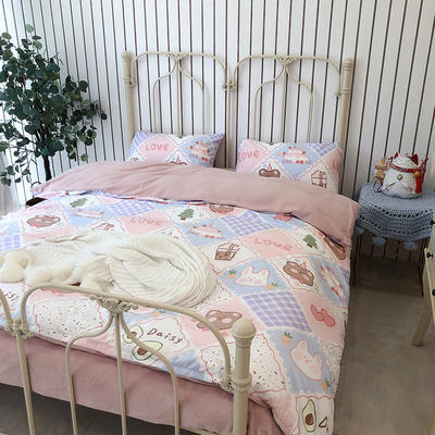 涞乐家居牛奶棉绒四件套 1.8m(6英尺)床 牛奶棉绒小甜甜