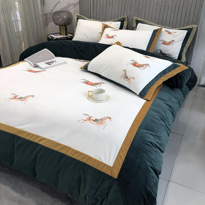 涞乐家居2020秋冬新品婴儿绒刺绣四件套赤腾 梵高系列 1.8m(6英尺)床 赤腾祖母绿