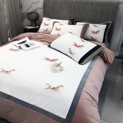 涞乐家居2020秋冬新品婴儿绒刺绣四件套赤腾 梵高系列 1.8m(6英尺)床 赤腾淡褐