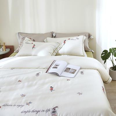 涞乐60S天丝刺绣四件套 1.8m(6英尺)床 王子梦想白