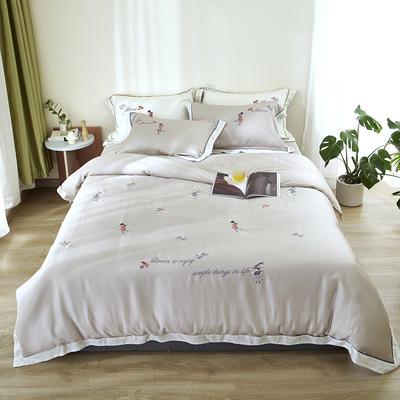 涞乐60S天丝刺绣四件套 1.8m(6英尺)床 王子梦想灰