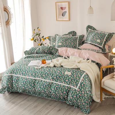 2020新款韩版全棉四件套小清新韩式床单纯棉小碎花被套公主风 1.8m(6英尺)床 兰香