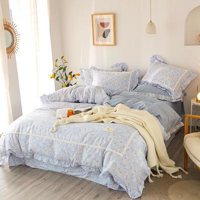 2020新款韩版全棉四件套小清新韩式床单纯棉小碎花被套公主风 1.8m(6英尺)床 樱花草-兰