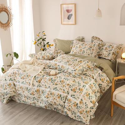 2020新款韩版全棉四件套小清新韩式床单纯棉小碎花被套公主风 1.8m(6英尺)床 丝语-兰
