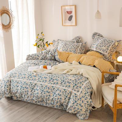 2020新款韩版全棉四件套小清新韩式床单纯棉小碎花被套公主风 1.8m(6英尺)床 梦中花园