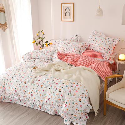 2020新款韩版全棉四件套小清新韩式床单纯棉小碎花被套公主风 1.8m(6英尺)床 美丽日记