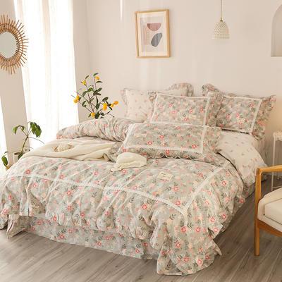 2020新款韩版全棉四件套小清新韩式床单纯棉小碎花被套公主风 1.8m(6英尺)床 花舞满天