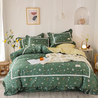 2020新款韩版全棉四件套小清新韩式床单纯棉小碎花被套公主风 1.8m(6英尺)床 叶凡