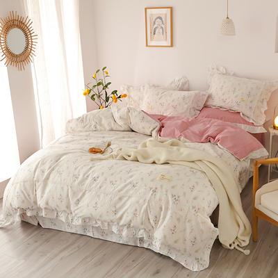 2020新款韩版全棉四件套小清新韩式床单纯棉小碎花被套公主风 1.8m(6英尺)床 花盈