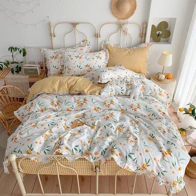 2020新款韩版全棉四件套小清新韩式床单纯棉小碎花被套公主风 1.8m(6英尺)床 琵琶林