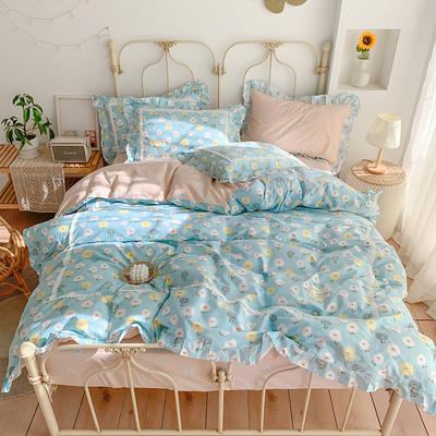 2020新款韩版全棉四件套小清新韩式床单纯棉小碎花被套公主风 1.8m(6英尺)床 花海