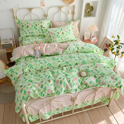 2020新款韩版全棉四件套小清新韩式床单纯棉小碎花被套公主风 1.8m(6英尺)床 花花世界