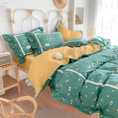 2020新款韩版全棉四件套小清新韩式床单纯棉小碎花被套公主风 1.8m(6英尺)床 萤火