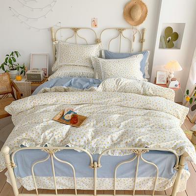 2020新款韩版全棉四件套小清新韩式床单纯棉小碎花被套公主风 1.8m(6英尺)床 晴天