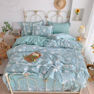 2020新款韩版全棉四件套小清新韩式床单纯棉小碎花被套公主风 1.8m(6英尺)床 未来铁床