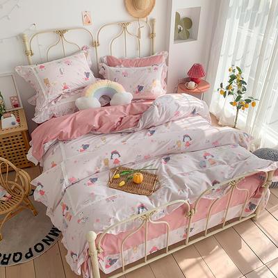 2020新款韩版全棉四件套小清新韩式床单纯棉小碎花被套公主风 1.8m(6英尺)床 小红帽