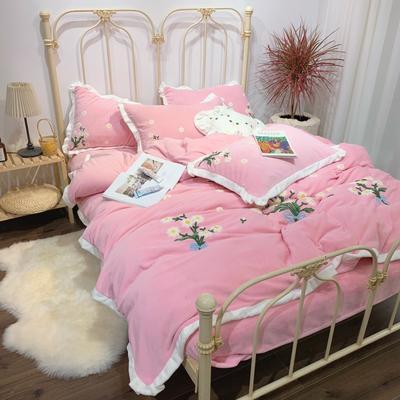 2020新款-玛格丽特四件套 床单款四件套1.8m(6英尺)床 玛格丽特粉