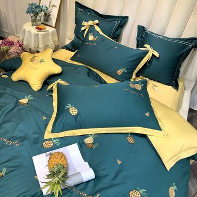 2020新品 60s长绒棉四件套菠萝小清新刺绣小菠萝 床单款四件套1.8m(6英尺)床 小菠萝墨绿