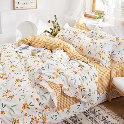 2020新款韩版全棉四件套小清新韩式床单纯棉小碎花被套公主风 1.8m(6英尺)床 琵琶林1