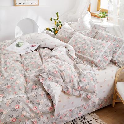 2020新款韩版全棉四件套小清新韩式床单纯棉小碎花被套公主风 1.8m(6英尺)床 花舞满天1