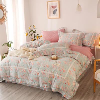 2020新款韩版全棉四件套小清新韩式床单纯棉小碎花被套公主风 1.8m(6英尺)床 巧笑嫣然