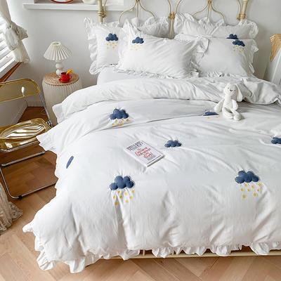 2020新款-云朵韩版全棉水洗棉大荷叶边立体贴布绣小清新床单款四件套 床单款四件套1.8m(6英尺) 白