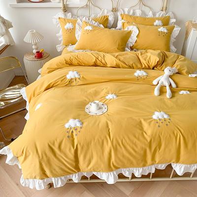2020新款-云朵韩版全棉水洗棉大荷叶边立体贴布绣小清新床单款四件套 床单款四件套1.8m(6英尺) 黄