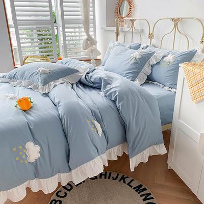 2020新款-云朵韩版全棉水洗棉大荷叶边立体贴布绣小清新床单款四件套 床单款四件套1.8m(6英尺) 蓝