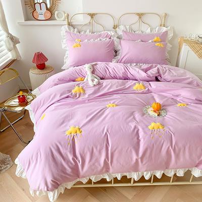 2020新款-云朵韩版全棉水洗棉大荷叶边立体贴布绣小清新床单款四件套 床单款四件套1.8m(6英尺) 紫