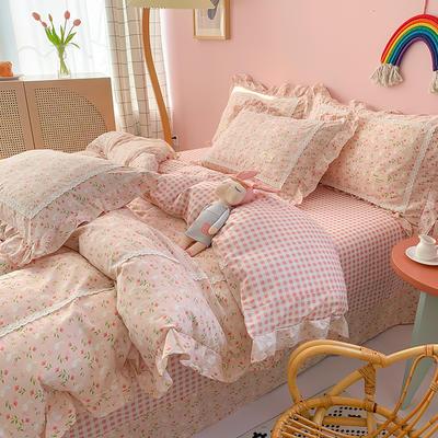 2020新款韩版全棉四件套小清新韩式床单纯棉小碎花被套公主风 1.5m(5英尺)床 花间兔