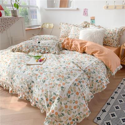 2020新款韩版全棉四件套小清新韩式床单纯棉小碎花被套公主风 1.8m(6英尺)床 花语
