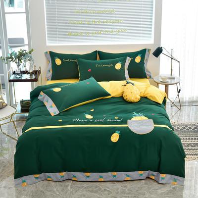 2020新款韩版全棉刺绣工艺款小清新四件套 1.5m(5英尺)床 床单款-元气菠萝-墨绿