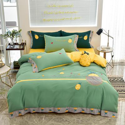 2020新款韩版全棉刺绣工艺款小清新四件套 1.5m(5英尺)床 床单款-元气菠萝-浅绿