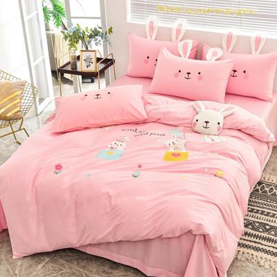 2020新款韩版全棉刺绣工艺款小清新四件套 1.5m(5英尺)床 床单款-开心时光-粉色