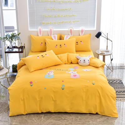 2020新款韩版全棉刺绣工艺款小清新四件套 1.5m(5英尺)床 床单款-开心时光-黄色